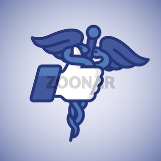 Like/Thumbs Up icon with caduceus medical symbol