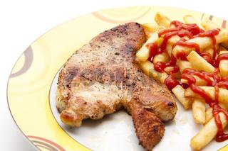 Puten Steak mit Pommes