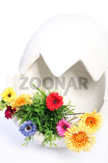 large egg decorated with flowers