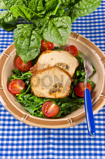 Spinach with meat beef olive