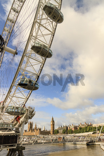 London Eye and Houses of Parliament London UK