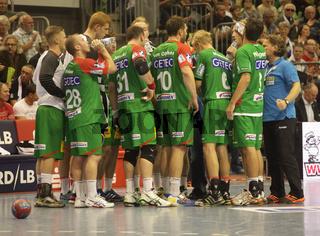 Auszeit SC Magdeburg DKB Handball-Bundesliga Saison 2013/14,9.Spieltag SC Magdeburg-THW Kiel 9.10.13