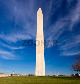 Wide angle view of Washington Monument