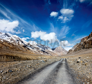Road in mountains (Himalayas). Spiti Valley