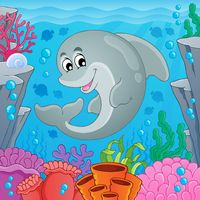 Image with dolphin theme 6 - picture illustration.