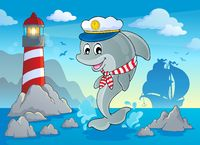 Image with dolphin theme 7 - picture illustration.