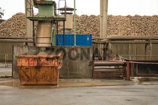 Rübenbunker in einer Zuckerfabrik