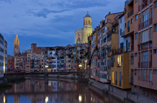 old town of Girona at night, Spain