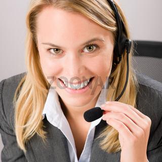 Customer service woman call operator phone headset
