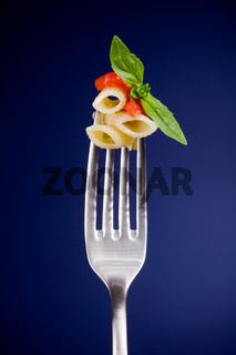 Fork with pasta and tomato sauce