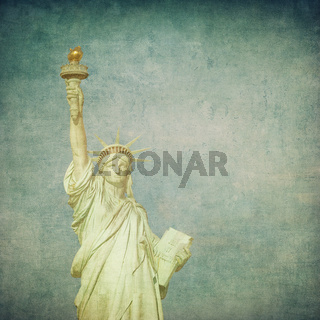 grunge image of liberty statue
