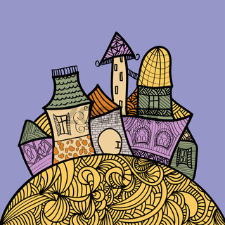 hand drawn illustration with fairy doddle town