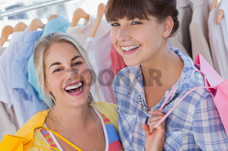 Portrait of two laughing friends