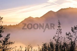 sunrise on alpine lake