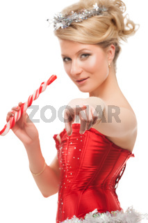 sexy cheerful santa helper girl