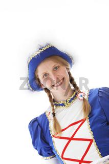 Portrait einer hübschen Frau in Faschingsuniform