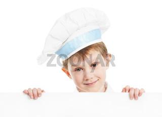 chef boy with blank billboard