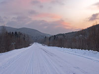 Morning on taiga highway