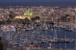 Beleuchtete Kathedrale mit Yachthafen bei Dämmerung, Palma de Mallorca, Spanien