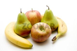 Apfel und Birne mit Banane