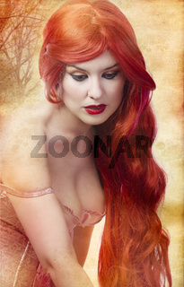 Skincare, Face of a beautiful and voluptuous young woman with redhair