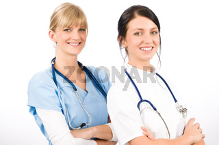 Medical team doctor young nurse female smiling