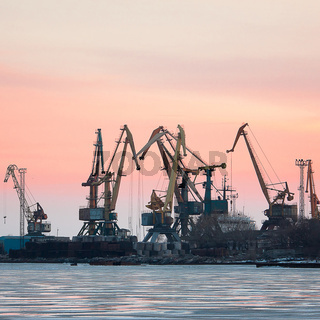View on seaport with cranes