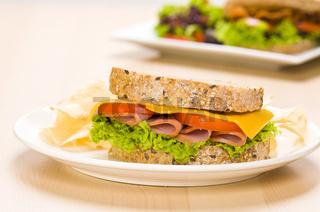 Sandwich Butterbrot mit reichhaltigem Inhalt