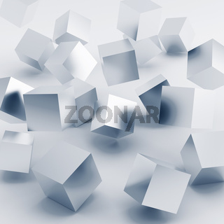 Falling and hitting silver cubes on a white background