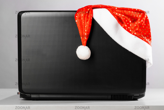 laptop with santa hat