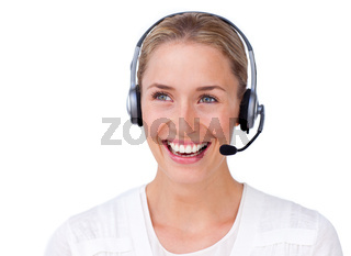 Sparkling busineswoman talking on a headset against a white background