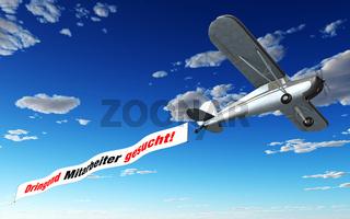 Flugzeug Banner - Dringend Mitarbeiter gesucht!