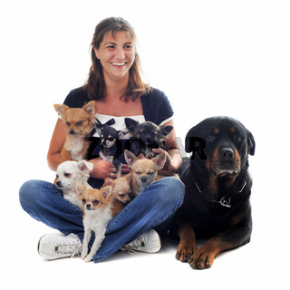 woman and her dogs