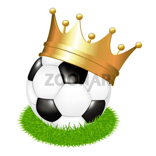 Soccer Ball On Grass With Crown