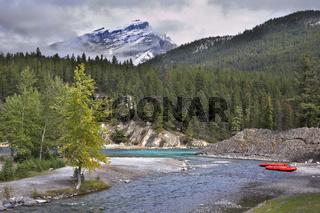 Kayaks on a shallow