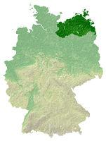 Mecklenburg-Vorpommern topografische Relief Karte