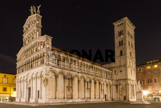 San Michele at night, Lucca, Tuscany, Italy