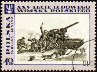 POLAND - CIRCA 1968: A post stamp printed in Poland shows tank attack