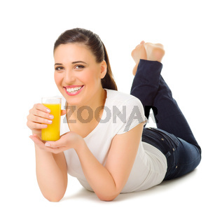 Young woman with orange juice isolated