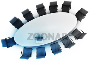 Top view of a table for meeting with copy space