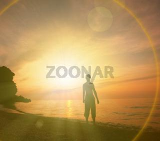Beach scene on sunset