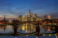 Panorama of Frankfurt at twilight