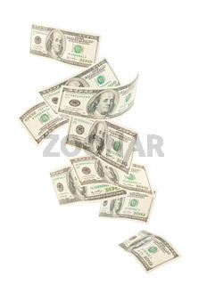 Isolated floating American hundred notes isolated