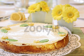 Cheesecake on coffee table