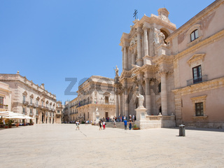 baroque style Piazza Duomo and Cathedral in Syracuse