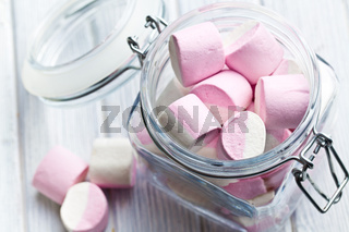 sweet marshmallows in glass jar