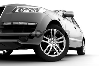 Car front bumper, light and wheel on white