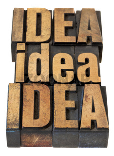 idea word abstract in wood type