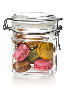 colofrul macaroons in glass jar