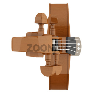 top view of brown violin isolated on white background